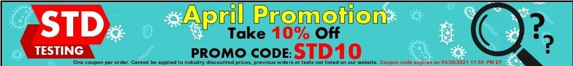 STD Test Category 10% Off Promo Code STD10